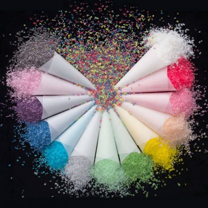 Our biodegradable wedding confetti comes in 14 vibrant colors.