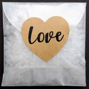 Let us make envelopes of non-toxic confetti for you, sealed with a Big Love Heart