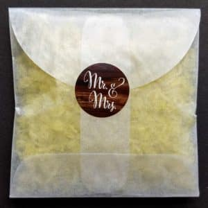Let us make envelopes of non-toxic confetti for you, sealed with Mr and Mrs on Wood