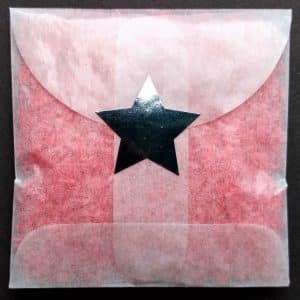 Let us make envelopes of non-toxic confetti for you, sealed with a Silver Star