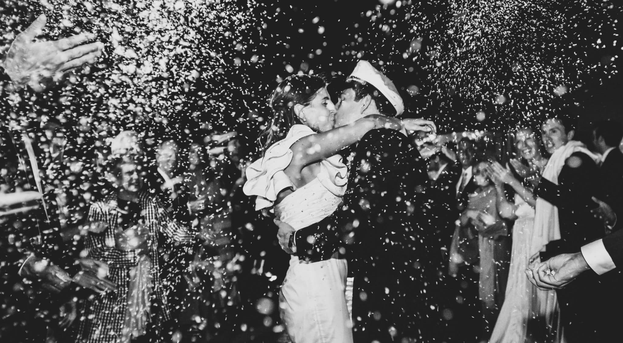 Eco-friendly bride and groom celebrate with water soluble confetti!